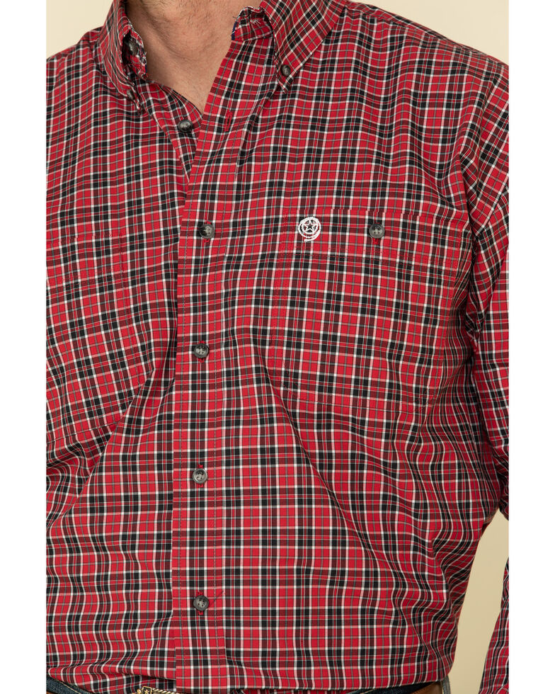 George Strait By Wrangler Men's Red Med Plaid Long Sleeve Western Shirt - Tall, Red, hi-res
