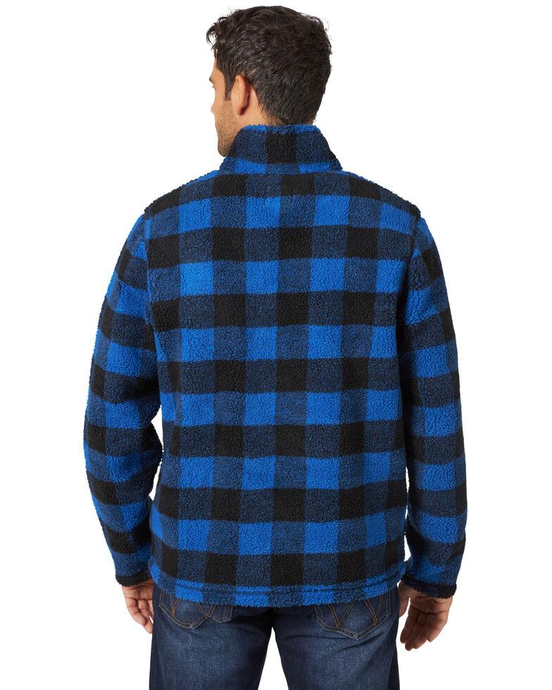 Wrangler Men's Snorkel Blue Plaid Sherpa 1/4 Zip Pullover , Blue, hi-res