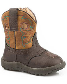 Roper Infant Boys' Daniel Western Boots - Round Toe, Brown, hi-res