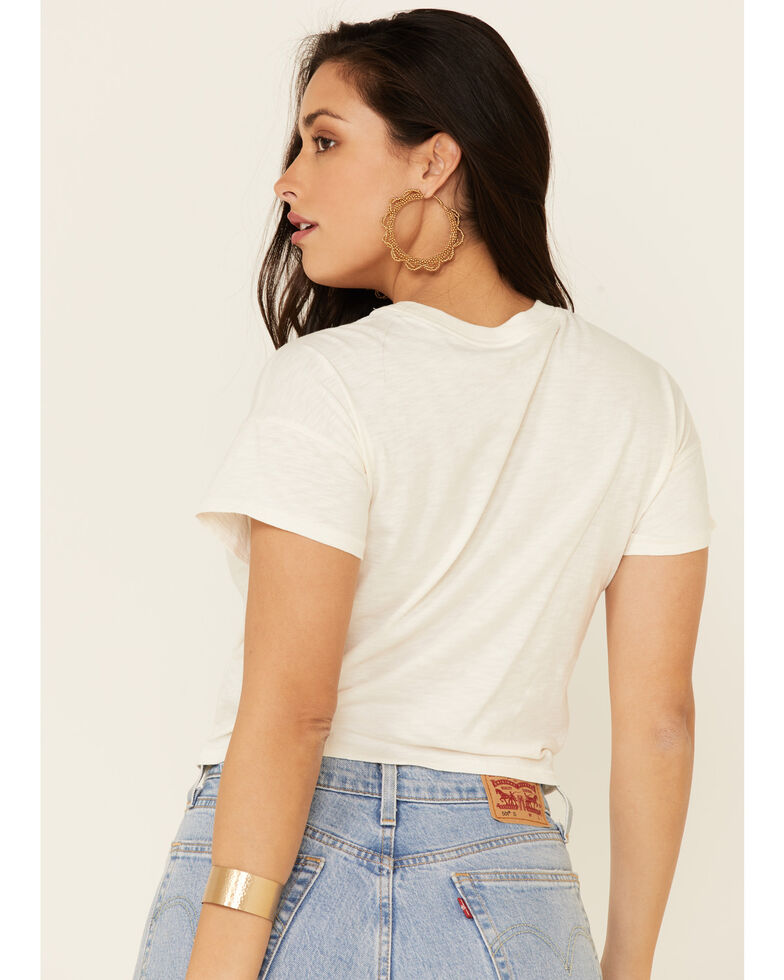Shyanne Women's Ivory Stay Wild Tie-Front Graphic Tee , Ivory, hi-res