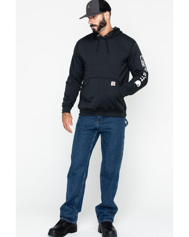 Carhartt Men's Logo Hooded Work Sweatshirt, Black, hi-res