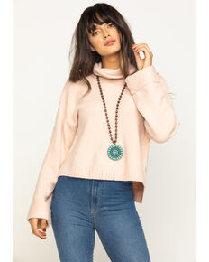Eyeshadow Women's Pink Cropped Sweater, Pink, hi-res