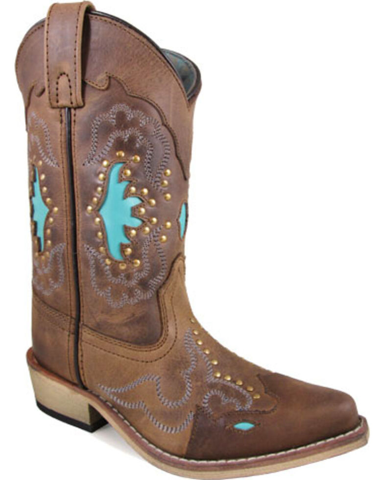 Smoky Mountain Youth Girls' Moonbay Turquoise Inlay Cowgirl Boots - Snip Toe, Brown, hi-res
