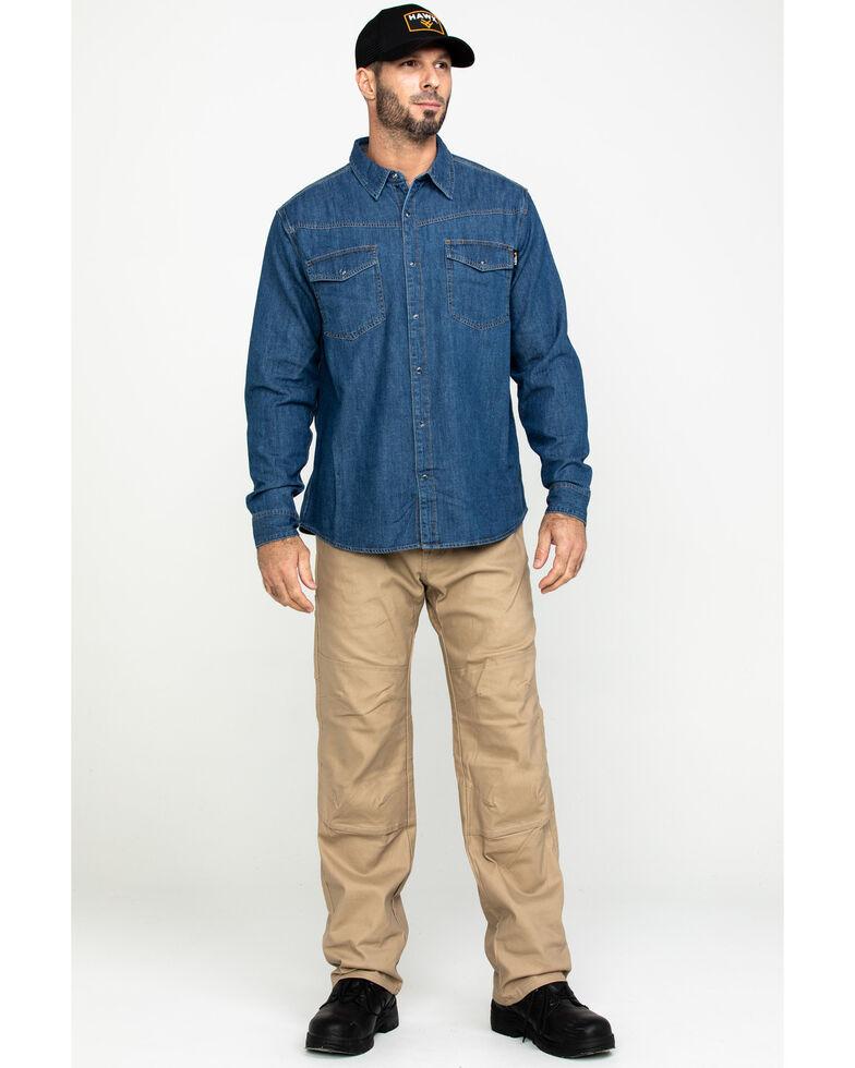 Hawx Men's Stonewashed Denim Snap Long Sleeve Work Shirt , Blue, hi-res