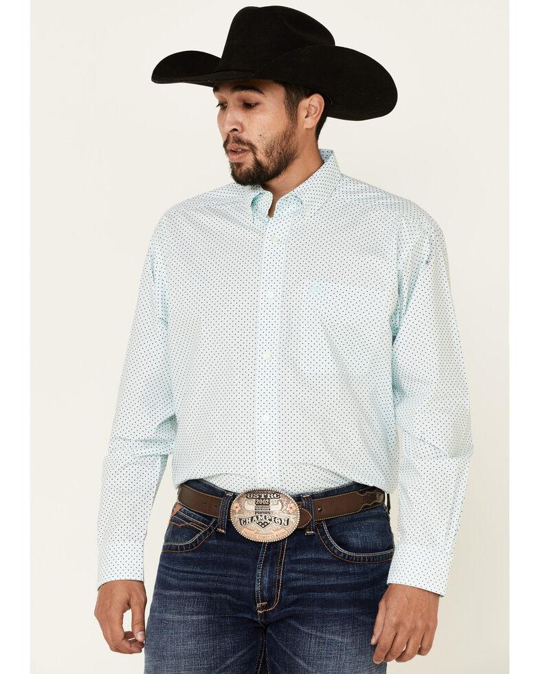 Ariat Men's Penn Geo Print Long Sleeve Button-Down Western Shirt - Tall , Aqua, hi-res
