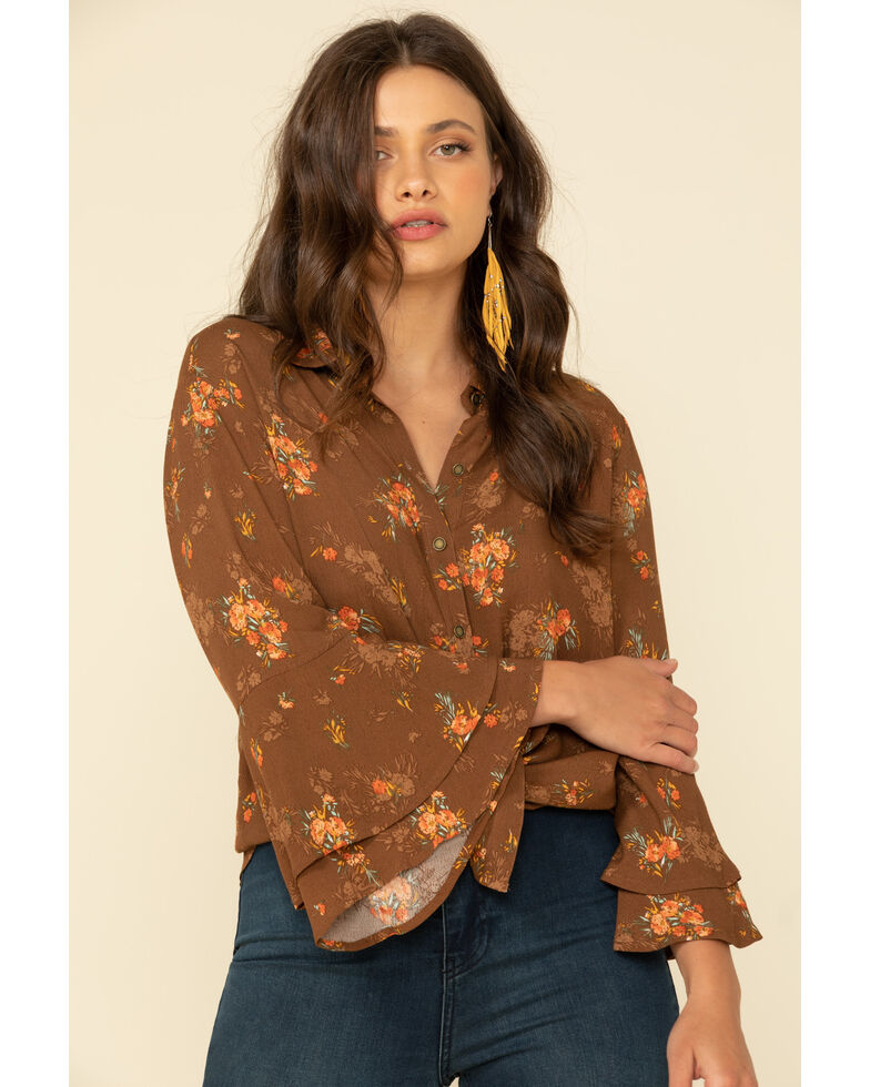 Ariat Women's Wild Flower Tie-Up Long Sleeve Top, Brown, hi-res