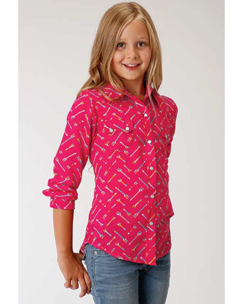 Roper Girls' Arrow Print Long Sleeve Western Shirt, Pink, hi-res