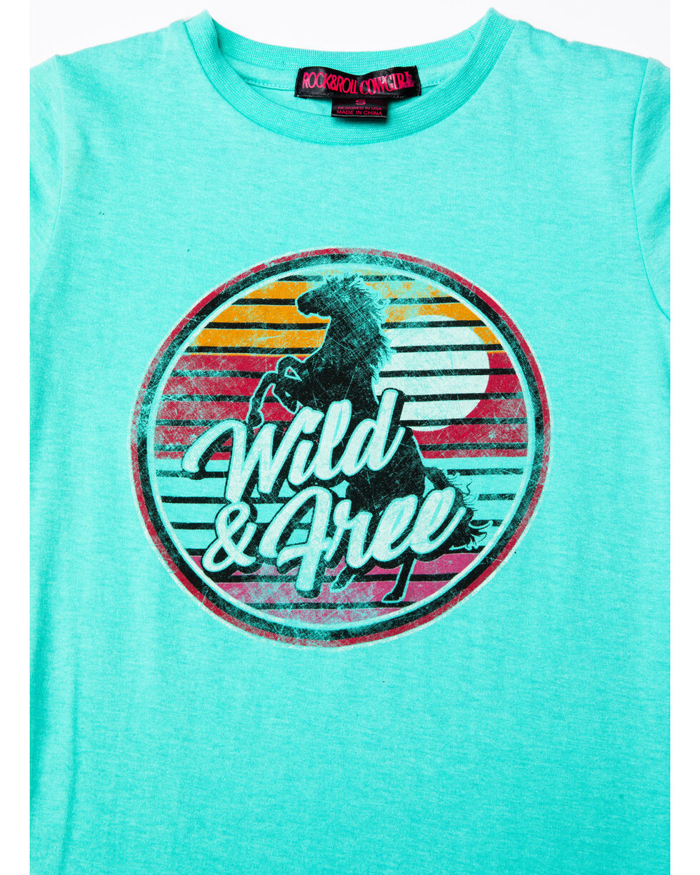 Rock & Roll Cowgirl Girls' Wild And Free Sunset Horse Graphic T-Shirt , Light Green, hi-res