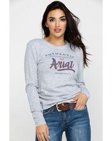 Ariat Women's Grey Script Logo Long Sleeve Tee, Heather Grey, hi-res