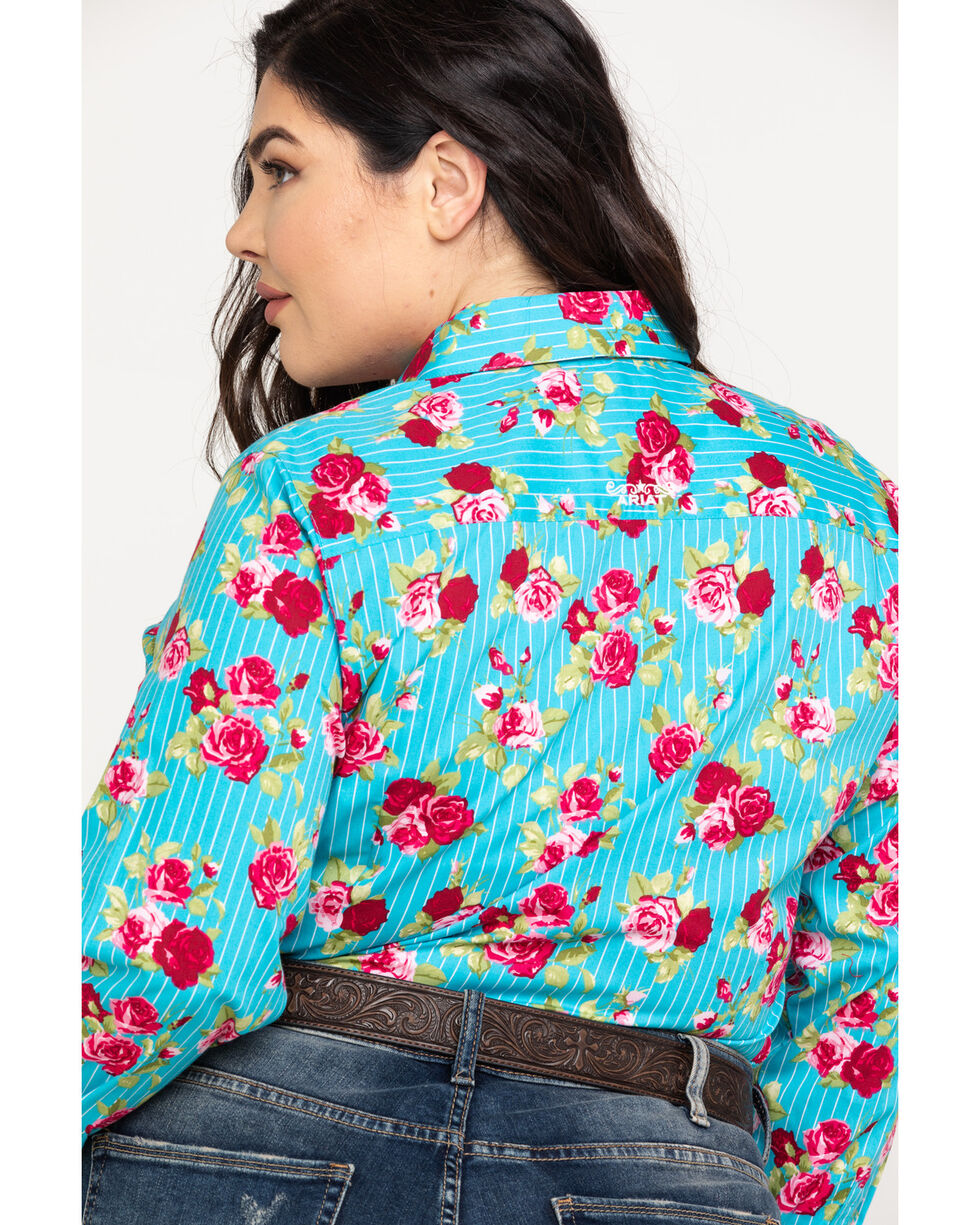 Ariat Women's Kirby Stretch Rose Print Long Sleeve Western Shirt - Plus , Multi, hi-res