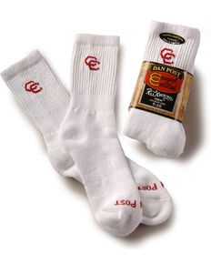 Dan Post Womens Cowboy Certified Crew Socks (2-Pack), White, hi-res