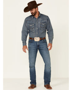 Wrangler Retro Men's Irving Med Stretch Slim Bootcut Jeans , Blue, hi-res