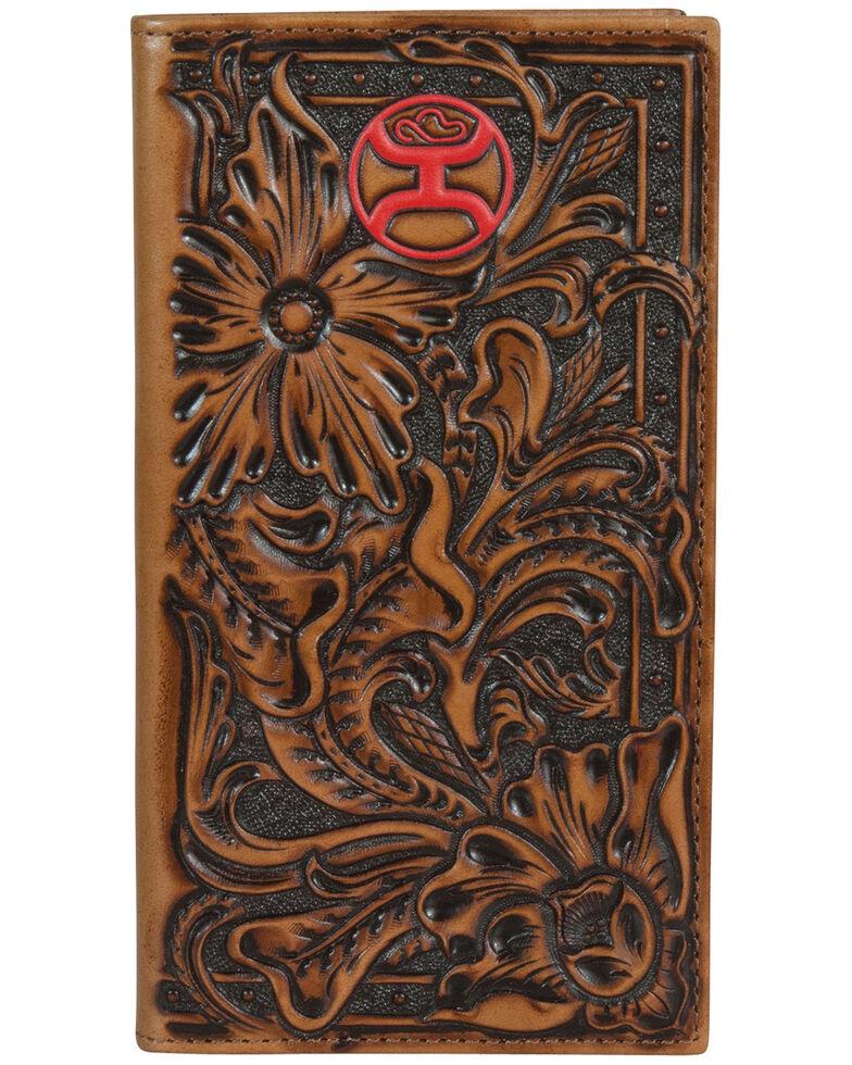 HOOey Men's Floral Tooling Rodeo Wallet, Brown, hi-res