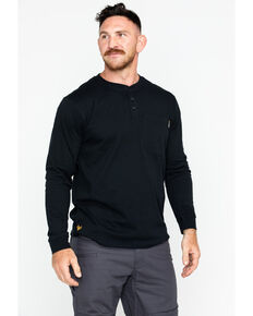 Hawx Men's Pocket Henley Work Shirt , Black, hi-res