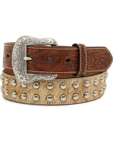 Nocona Men's Studded Tan Calf Hair Western Belt, Tan, hi-res