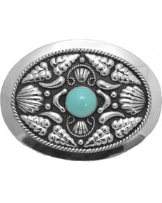 Western Express Women's Silver Turquoise Stone Belt Buckle , Silver, hi-res