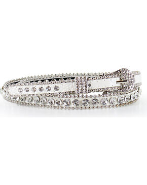 Shyanne Women's Thin Rhinestone Studded Belt, White, hi-res