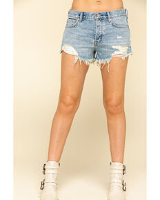 Free People Women's Light Wash Good Vibrations Shorts, Blue, hi-res