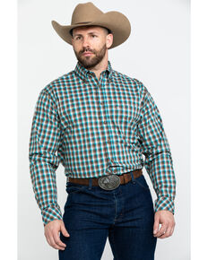 Tuf Cooper Men's Competition Brown Check Plaid Long Sleeve Western Shirt , Brown, hi-res