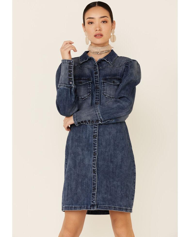 Billy T Women's Blue Denim Puff Sleeve Shirt Dress, Blue, hi-res
