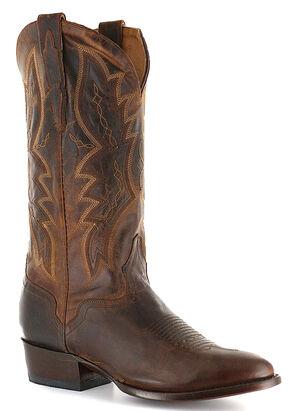El Dorado Handmade Distressed Goat Cowboy Boots - Round Toe, Brown, hi-res