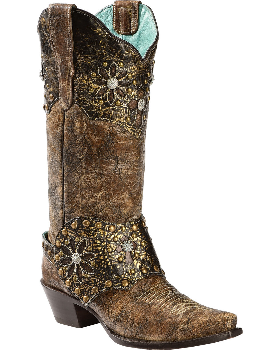 Corral Women's Collar and Harness Cowgirl Boots - Snip Toe, Brown, hi-res