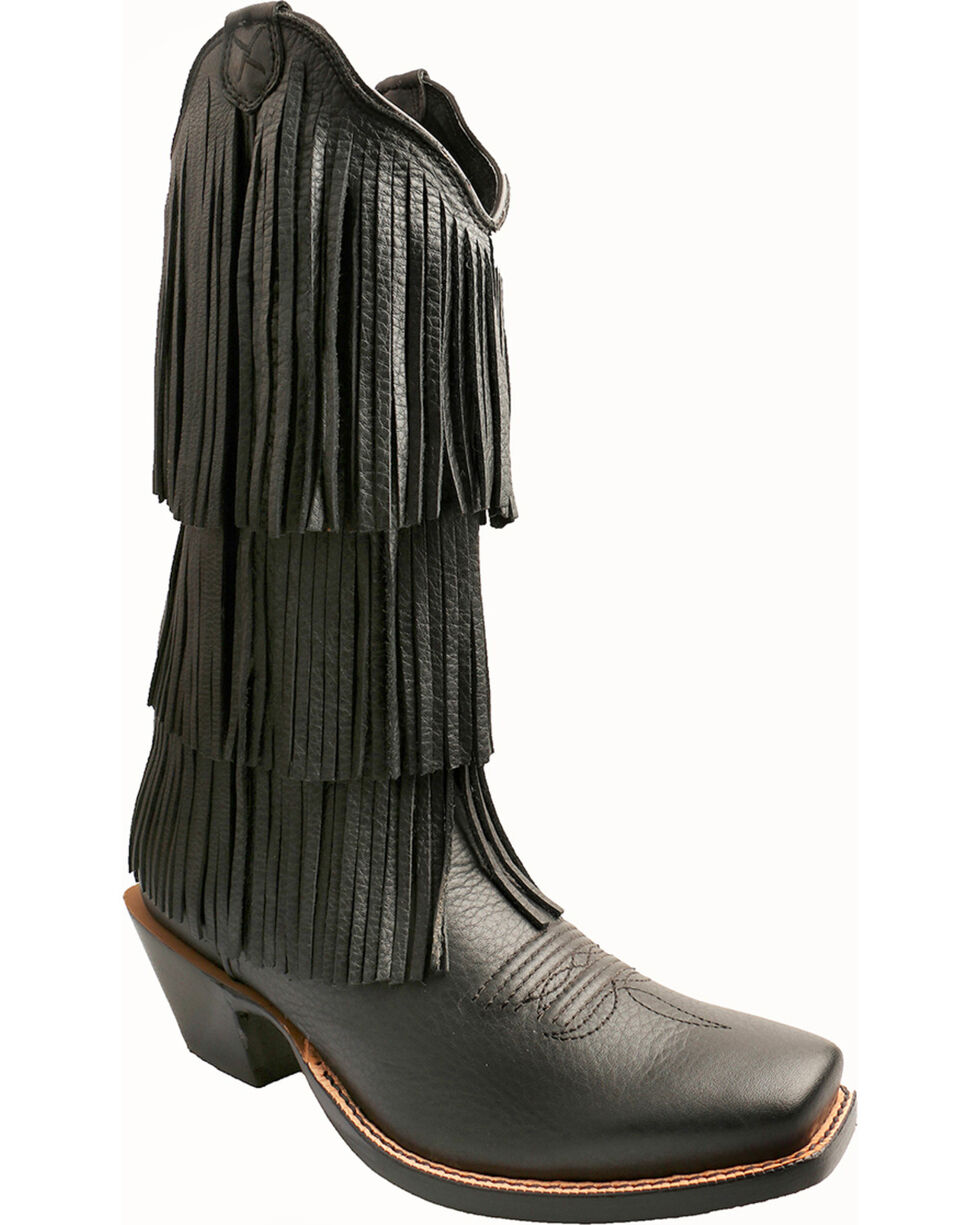 Twisted X Black Fringe Steppin' Out Cowgirl Boots - Square Toe, Black, hi-res