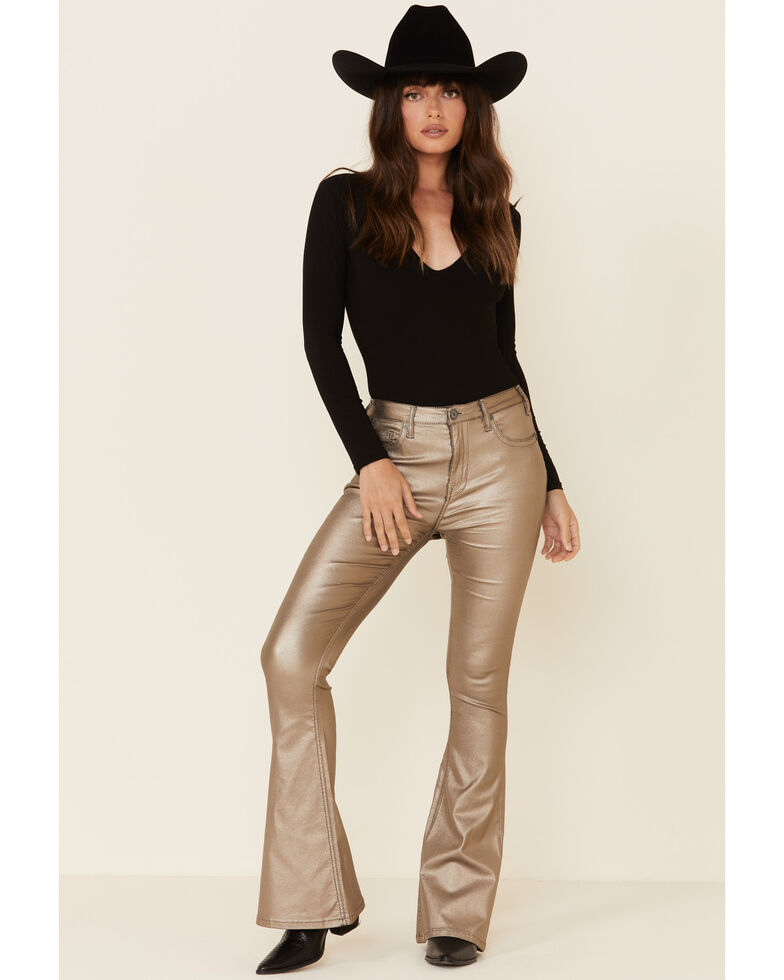 Panhandle Women's Gold Flare Jeans, Gold, hi-res