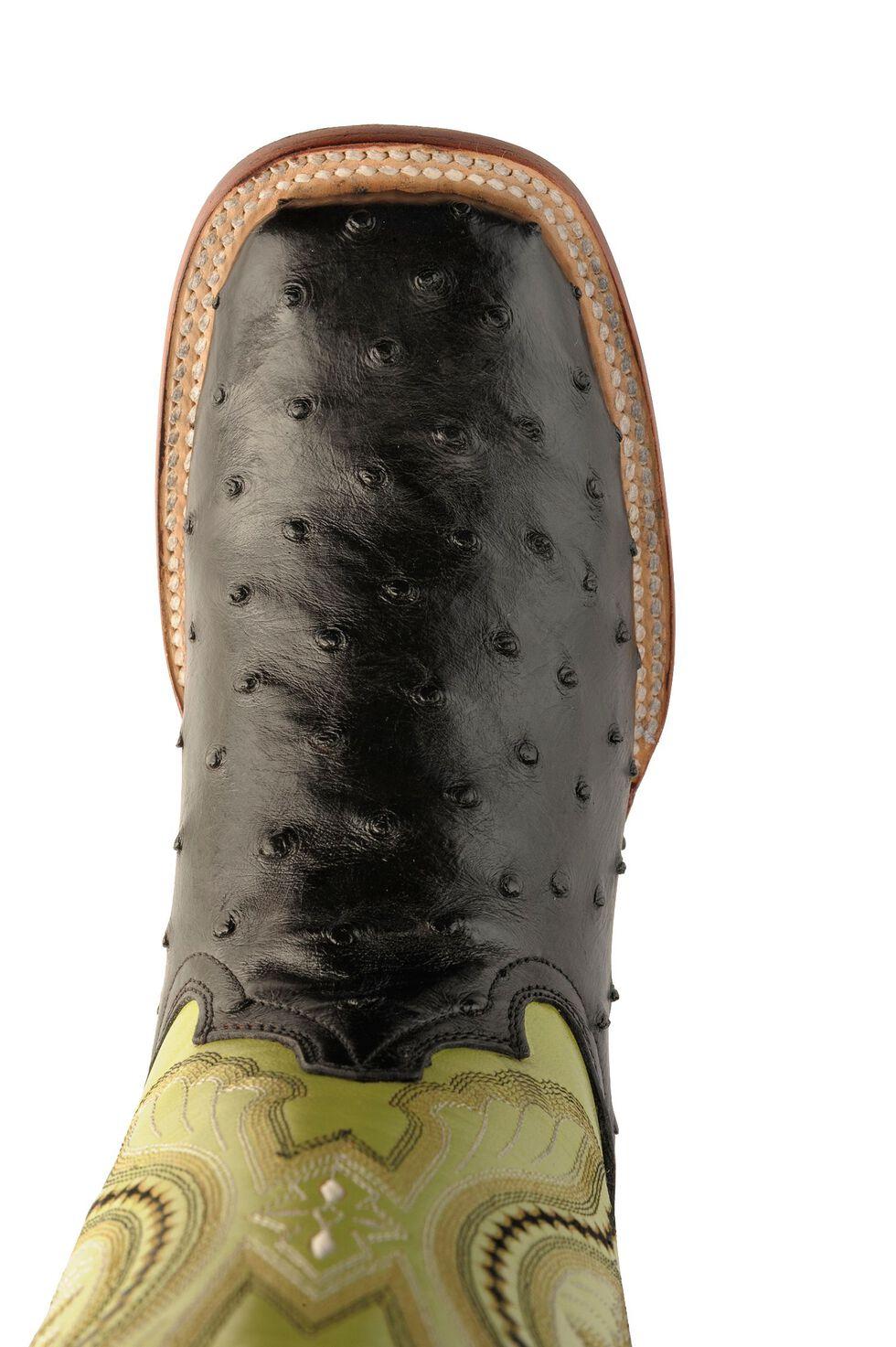 Ferrini Black Full Quill Ostrich Cowgirl Boots - Wide Square Toe, Black, hi-res