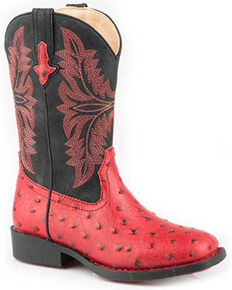 Roper Girls' Cowboy Cool Western Boots - Square Toe, Red, hi-res
