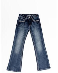 Grace in LA Toddler Girls' Light Wash Chandelier Bootcut Jeans , Blue, hi-res