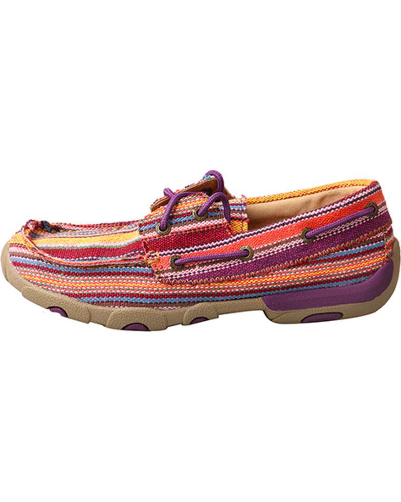 Twisted X Women's Purple Multi-Striped Driving Moccasins - Moc Toe, Purple, hi-res