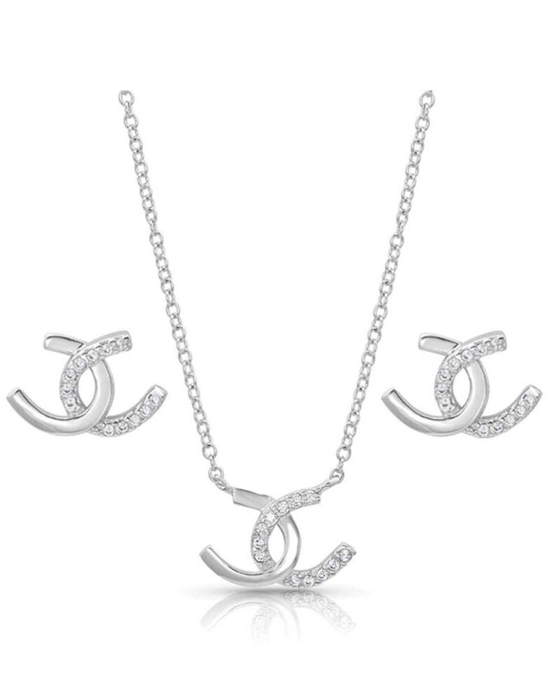Montana Silversmiths Women's Horseshoe Happiness Jewelry Set, Silver, hi-res