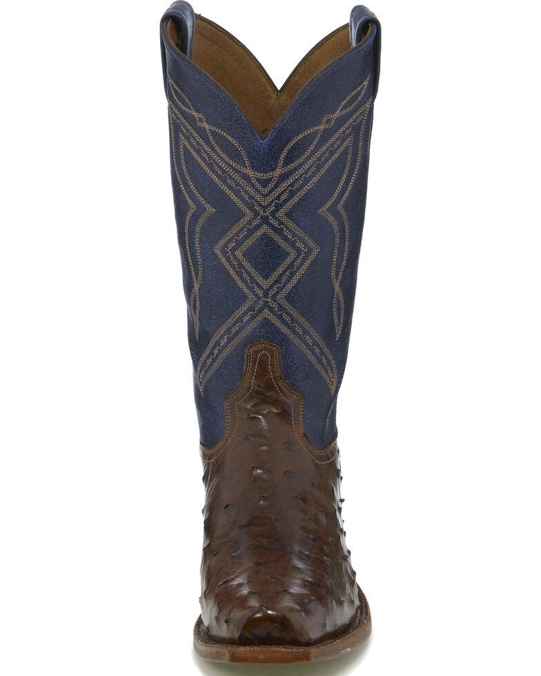 "Tony Lama Men's Dark Brown/Blue 12"" Full Quill Ostrich Cowboy Boots - Narrow Square Toe, Dark Brown, hi-res"