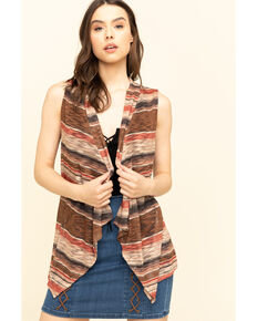 Rock & Roll Cowgirl Women's Knit Stripe Vest , Brown, hi-res