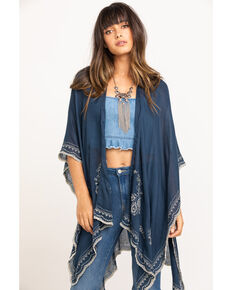 Shyanne Women's Navy Beaded Trim Embroidered Woven Poncho Shawl, Navy, hi-res