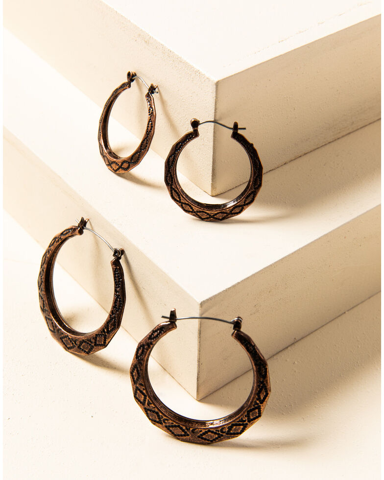 Shyanne Women's Willow Moon Aztec Copper Hoop Set, Rust Copper, hi-res