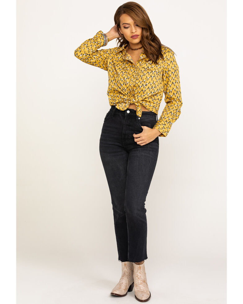 Cotton & Rye Outfitters Women's Allover Steerhead Long Sleeve Western Shirt, Dark Yellow, hi-res