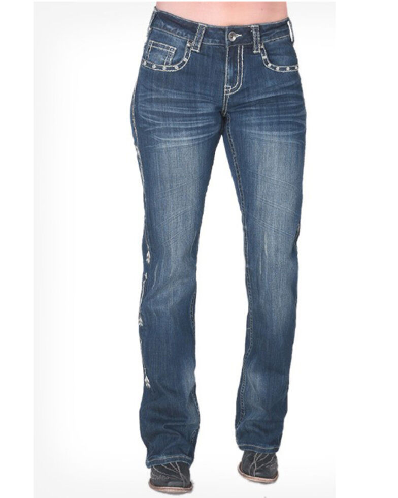 Cowgirl Tuff Women's Straight Shooter Medium Wash Bootcut Jeans , Blue, hi-res