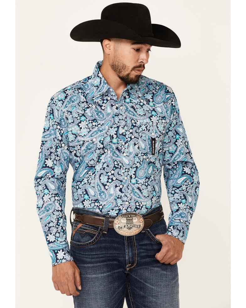 Wrangler 20X Men's Blue Paisley Print Long Sleeve Snap Western Shirt , Blue, hi-res