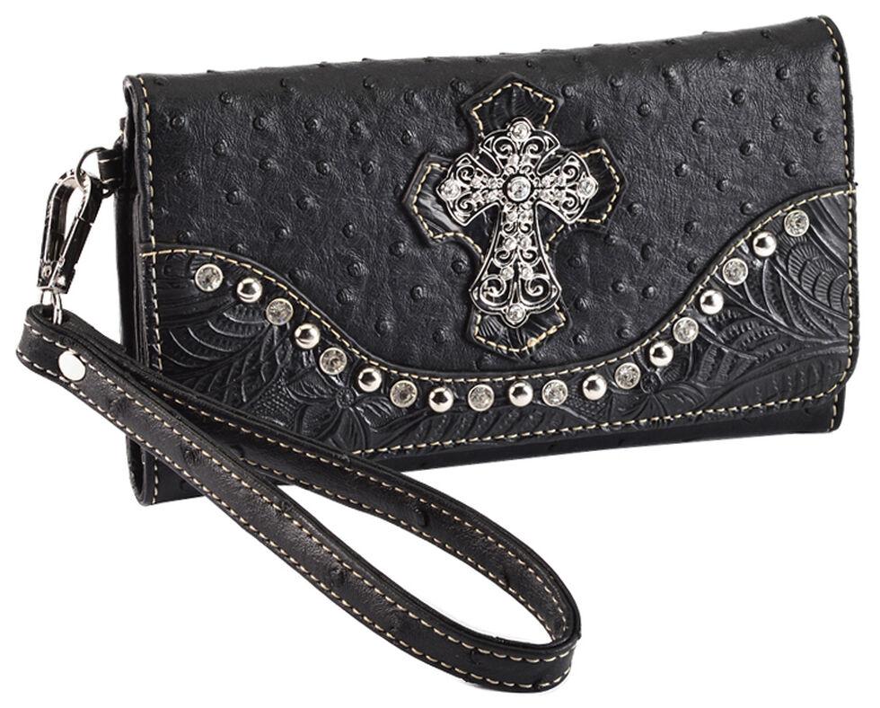 Blazin Roxx Faux Ostrich Wallet, Black, hi-res