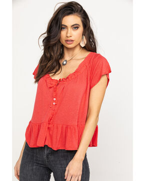 Free People Women's Red Charlie Drawstring Peasant Top, Red, hi-res