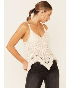 Sadie & Sage Women's Natural Crochet Fringe Cami , Natural, hi-res