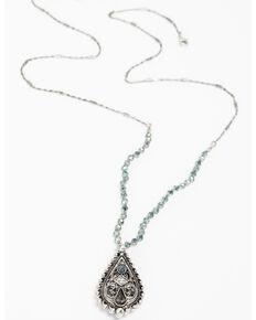 Shyanne Women's Caged Gemstone Necklace, Silver, hi-res