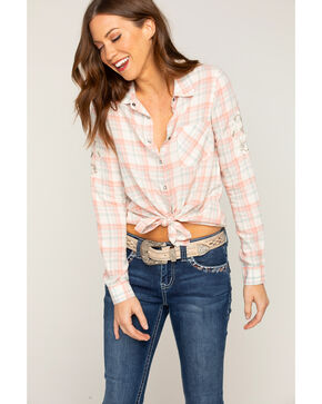Shyanne Women's Embroidered Plaid Long Sleeve Shirt, Rust Copper, hi-res
