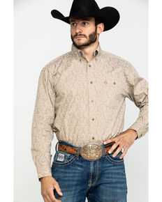 George Strait by Wrangler Men's Tan Large Paisley Print Long Sleeve Western Shirt - Tall , Tan, hi-res
