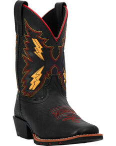 Dan Post Boys' Lightning Bolt Cowboy Boots - Square Toe, Black, hi-res