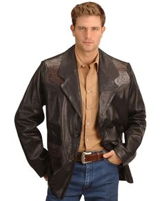 Kobler Hand Tooled Leather Blazer, Black, hi-res