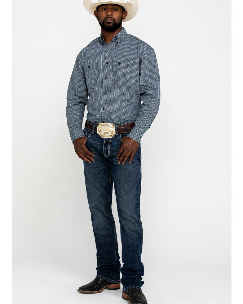 George Strait by Wrangler Men's Black Check Plaid Long Sleeve Western Shirt , Black/blue, hi-res