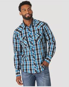 Wrangler Men's Blue Plaid Long Sleeve Fashion Snap Western Shirt , Blue, hi-res